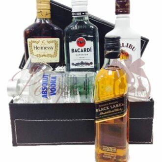 Sample Box Liquor Gift Basket