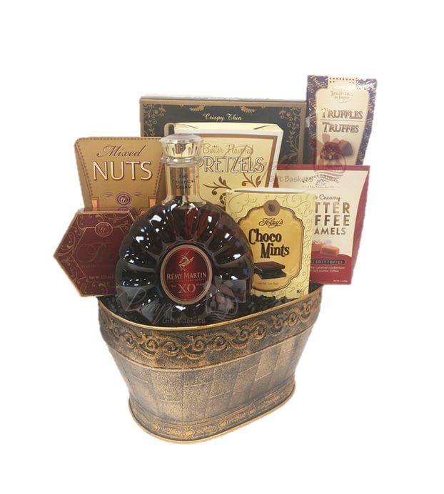 French Excellence Cognac Gift Basket, Remy Xo Gift Basket, Engraved Remy Gift Basket,