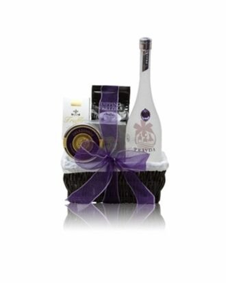 Perfect Pravda Vodka Gift Basket, Pravda Gift Basket, Custom Pravda Gift Basket, High End Vodka Gift Basket, Purple Gem Vodka, Paravda Vodka Gift Basket, Prada Gift Basket, Prada Baskets