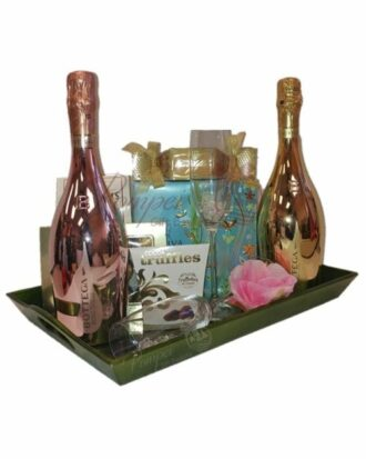 Spring Garden Bubbly Gift Basket, Bottega Rose Gold, Bottega Venetian Gold, Bottega Prosecco, Bottega Metallic Collection, Bottega Gift Basket, Bottega Prosecco Gifts, Bottega Prosecco Basket