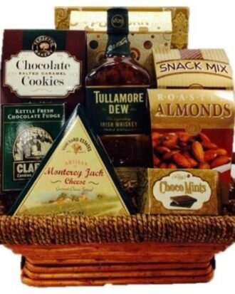 Dew More Tulla Whiskey Gift Basket, irish whiskey gift basket, irish gift basket, st patricks day gift basket, tullamore dew gift basket, st paddys day gifts nj