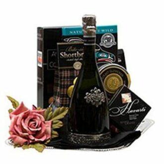 Silver Celebration Sparkling Wine Gift Basket, Segura Viudas Gifts, Engraved Segura Viudas, Segura Viudas Gift Basket,