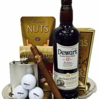 Generous Golfer's Scotch Gift Basket, Dewars 12 gift basket, Dewars Gift Basket, Golf GIft Basket, Golf Scotch Gift Basket, Alcoholic golf gift basket, golf lover gifts, engraved golf gifts