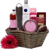 Creative Cosmo Vodka Gift Basket, Cosmopolitan gift basket, pink gift baskets, valentines day gift baskets, vodka gift basket