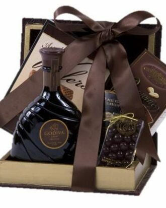 Decadent Chocolate Liqueur Gift Basket, godiva liqueur gift basket, godiva liquor gift basket, chocolate liquor gift basket, chocolate gift basket for adults