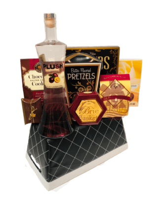 PLUSH Pickings Vodka Gift Basket, plush vodka, order plush vodka online, engraved plush vodka, plum vodka, superbowl gifts,