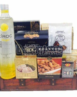 Crowning Moments Vodka Gift Basket, ciroc gift basket, ciroc pineapple gift basket, ciroc gifts, engraved ciroc,