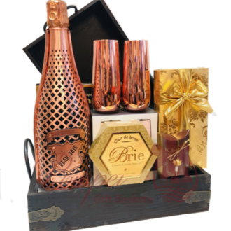 Taste of Glamour Champagne Gift Basket, Copper anniversary gifts, unique anniversary gifts, copper anniversary gifts for him, copper anniversary gifts for her, copper liquor gifts, 7th wedding anniversary gifts, champagne gift baskets, engraved copper anniversary gifts