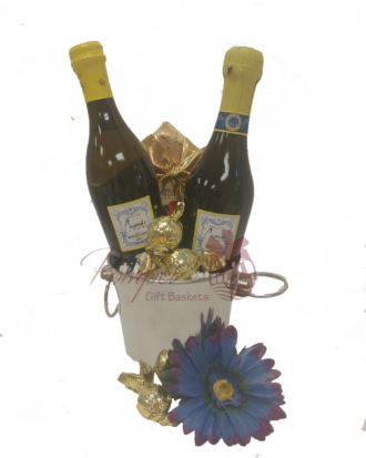 Two for You Prosecco Gift Basket, CUPCAKE GIFT BASKET, mini sparkling wine gift basket, mini prosecco bottles, thank you gifts nj, icebucket gift set, same day gift baskets nj