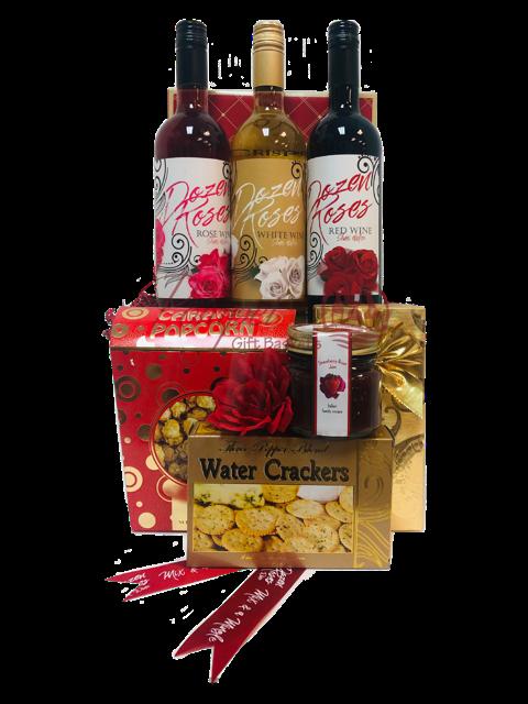 Dozen Roses Wine Gift Basket, dozen roses wine, valentines day gift baskets, Wine Gift baskets, Gift baskets that express love, 3 Wine Gift baskets, dozen roses wine
