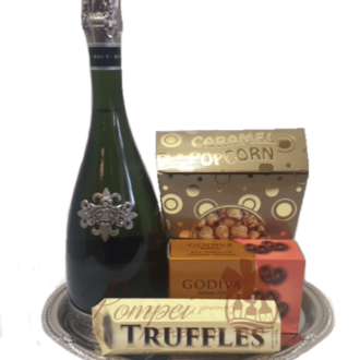 Simple Cava Sparkling Wine Gift Basket, Segura Viudas Gift basket, Sparkling Wine Gift Basket, Sweets and wine gift basket, engraved segura viudas