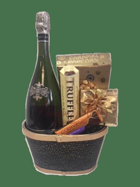 Segura Viudas Sparkling Wine Gift Basket, Segura Viduas Engraved, Engraved Segura Viudas, Pompei Gift Baskets, Sparkling Wine Gift Basket, Wine and Chocolate Gift Basket, Engagement Gift Baskets