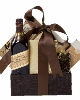 Walking on Gold Whiskey Gift Basket, Johnnie Walker Gift Basket, Engraved Johnnie Walker, Johnnie Walker Gold Gift Basket, Send Johnnie Walker Gifts, Johnnie Walker Label Engraving