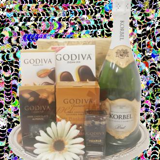 A Diva Celebration Champagne Gift Basket, korbel gift basket, champagne gift basket, sparkling wine gift basket, champagne and chocolate gift basket, godiva and champagne gift basket, anniversary gift basket,