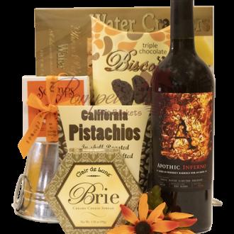 Apothic Inferno Wine Gift Basket, Apothic Gift Basket, Apothic Wine Engraved, Engraved Apothic Wine, Whiskey Wines, Thank you gift basket, House warming gift basket, realtor gift basket, realty gifts, closing gifts, wine gift baskets nj