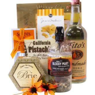 Tipsy Titos Bloody Mary Gift Basket, Titos Gift Basket, Bloody Mary Gift Basket, Vodka Gift Basket, Rokz spirit infusion gift basket, Scamps toffee gift basket, cocktail gift basket, engraved titos vodka, best bloody mary gift basket